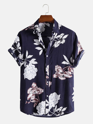 Flower Printed Button Up Shirts