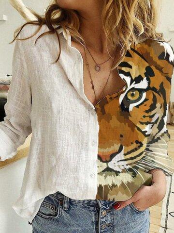 Tiger Print Lapel Shirt