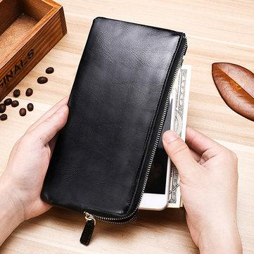 Männer echtes Leder schlanke lange Brieftasche mit vielen Funktionen