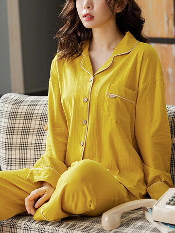 Cotton Ribbed Solid Color Pajama Set