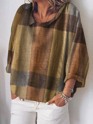 Plaid Print Long Sleeves Blouse