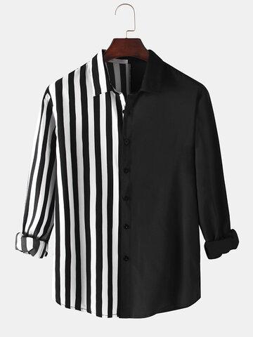 Contrast Patchwork Stripe Shirts
