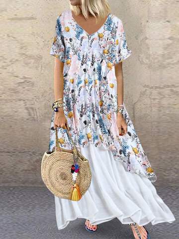 Floral Print Patchwork Maxi Dress