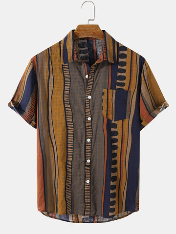 Wave Striped Shirt With Pocket