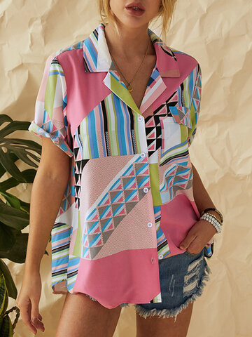 Geometric Striped Printed Patchwork Lapel Shirt With Pocket