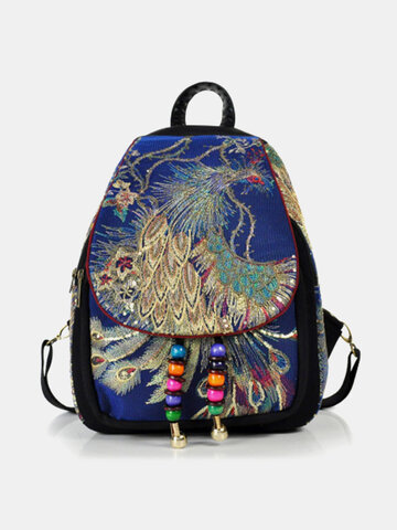 Ethnic Peacock Embroidery Tassel Backpack