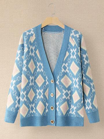 Argyle Pattern Button Cardigan