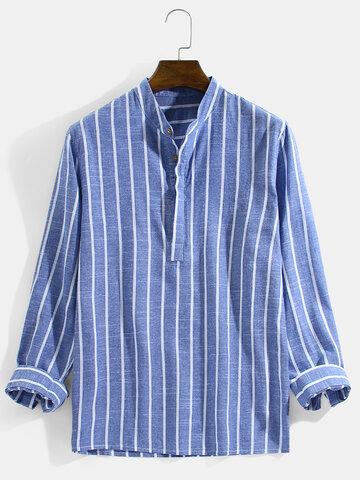 Cotton Vertical Striped Henley Shirts