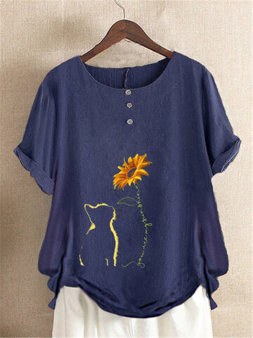 Cartoon Cat Floral Print T-Shirt