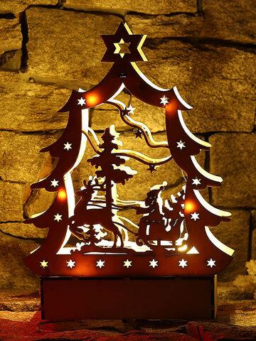 DIY Creative LED Light Tabletop Christmas Wooden Gift