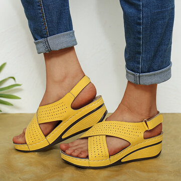 Hollow Cross Hook Loop Wedges Sandals