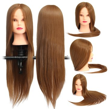 18 Inch Brown Long Straight Hair Training Model Mannequin Practice Head Salon Cutting