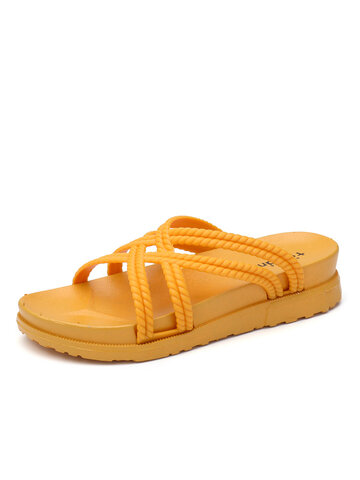 Cross Band Home Flats Slippers