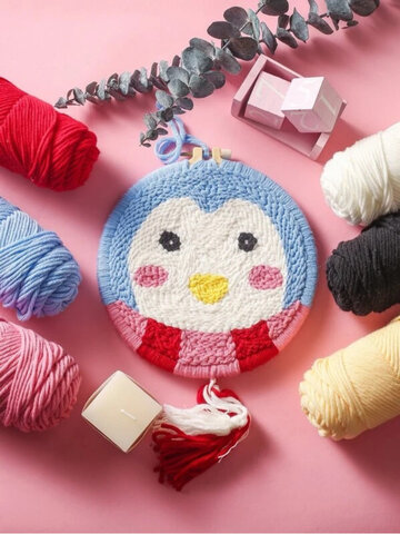 Cartoon Penguin DIY Modello Russian Poking Embroidery Kit Materiale Pacchetto Punch Needle Hoops Panno