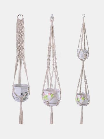 Natural Cotton Rope Braided Basket Bag Macrame Holder
