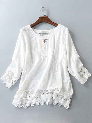 Embroidery Flower Lace Patchwork Blouse, White
