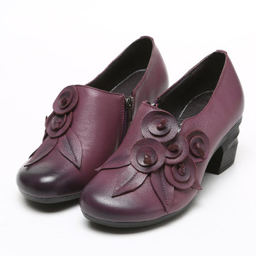 SOCOFY Retro Mid Heel Shoes