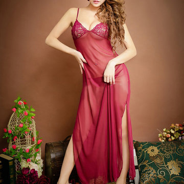 Sexy See-through Embroidery Mesh Maxi Nightwear Long Dress Sleepwear For Woman