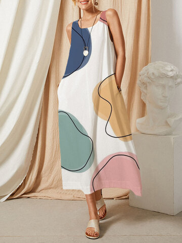 Color Block Pocket O-neck Dress
