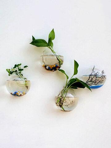 Florero de cristal transparente colgante de pared creativo decoración del hogar de la sala de estar hidropónica