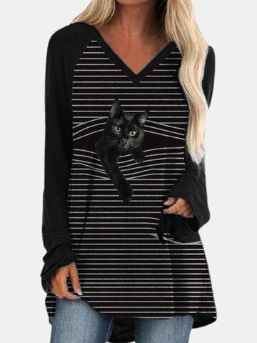Black Cat Print V-neck Striped T-shirt