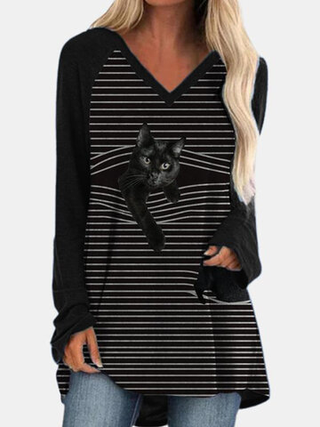 Black Cat Print V-neck Striped T-shirt