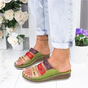 Retro Stitching Splicing Hollow Wedges Sandals