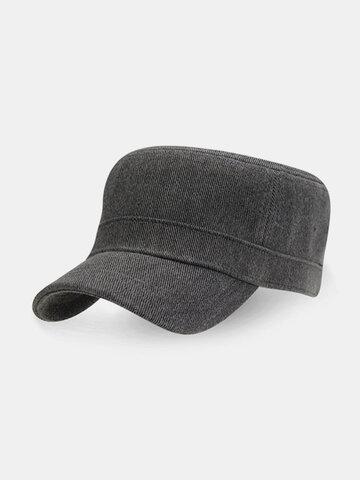 Mens Simple Stylish Cotton Flat Roof Trucker Hats Outdoor Casual Visor Baseball Caps