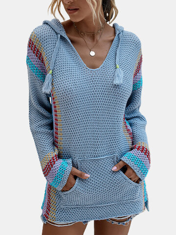 Stiped Long Sleeve Hooded Sweater