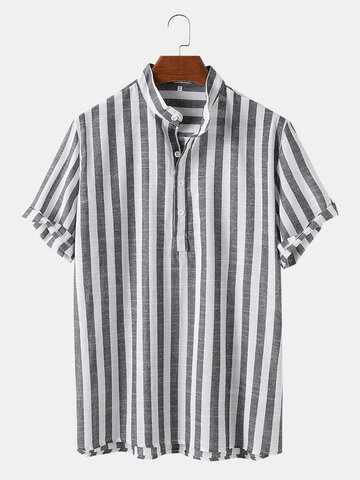 Striped Print Breathable Henley Shirts