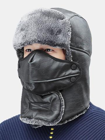 Men & Women Faux Leather Windproof Outdoor Trapper Hat