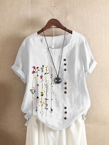 T-shirt O-collo con stampa floreale