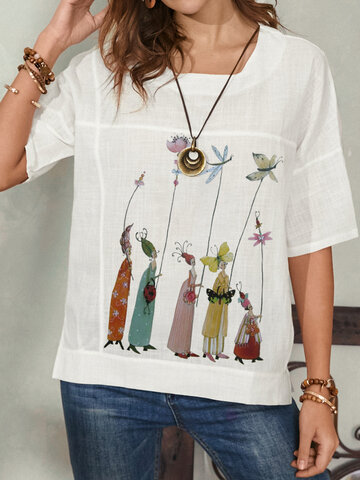 Cartoon Calico Print O-neck T-Shirt