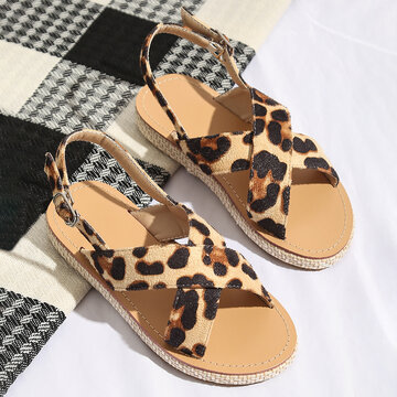 Girls Cross Band Leopard Printed Beach Sandals
