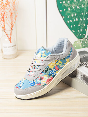 Flowers Printed Rocker Sole Running Shoes