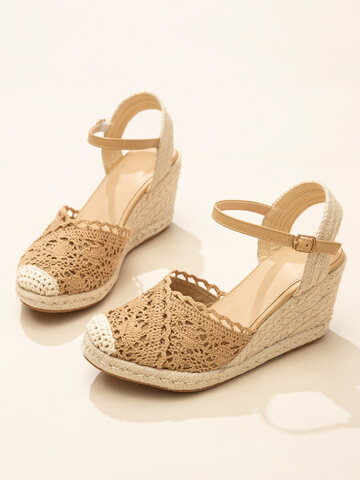 Lace Closed Toe Buckle Espadrille Wedges