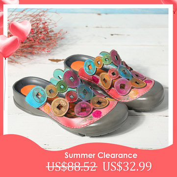 Copper Coins Pattern Leather Sandals