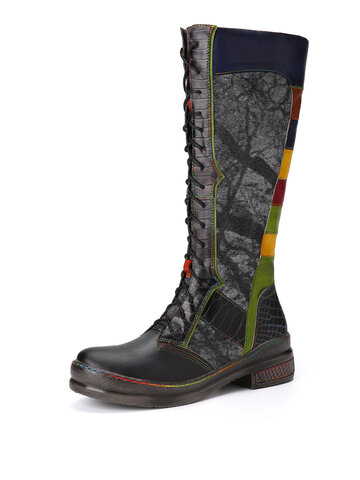 Socofy Color Block Leather Combat Knee Boots