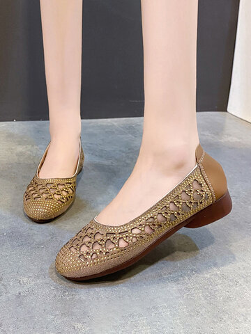Hollow-out Rhinestone Ballet Flat Shoes