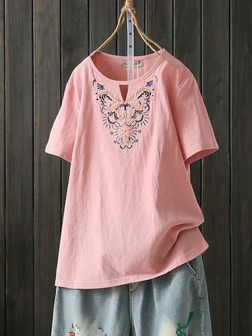 Vintage Embroidery Plus Size Shirt