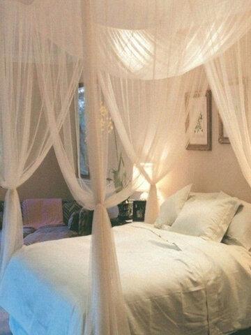 Rede mosquiteira 4 colunas de canto com cama de dossel Rede anti-mosquito queen size completa cama de rede king size