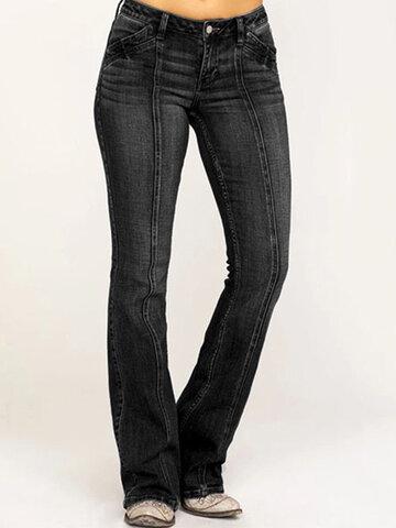 سوليد اللون بنطال جينز كاجوال بخصر متوسط