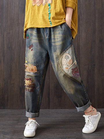 Vintage Patchwork Cartoon Denim