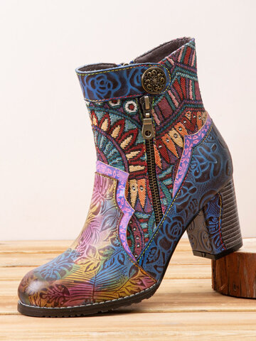 Socofy Printed Leather Chunky Heel Ankle Boots