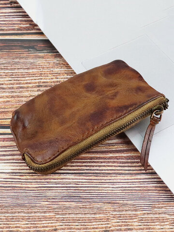Retro Genuine Leather Old Coin Purse Wallet