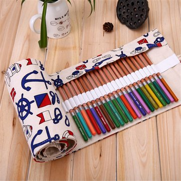 48/72 Holes Slots Ship Travel Journal Canvas Large Pencil Case Roll Bag School Supplies