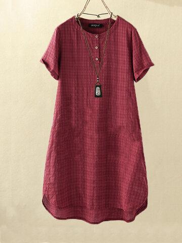Vintage Plaid Loose Dress