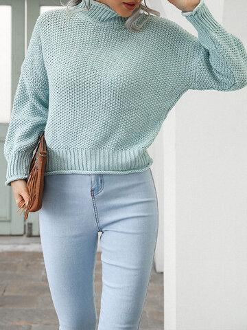 Pull tricoté uni à col montant