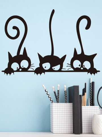 Black Cat Pattern Removable Self-adhesive Waterproof Wall Art Home Decor For Bedroom Kid Room Living Room Wall Sticker