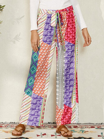 Ethnic Print Waistband Casual Pants